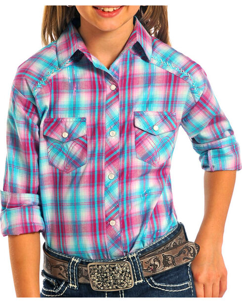 Panhandle Girl's Long Sleeve Plaid Snap Western Shirt, Hot Pink, hi-res