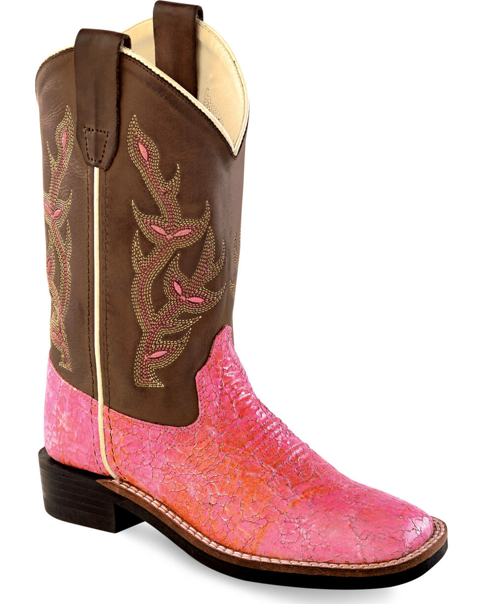 Old West Girls' Western Boots - Square Toe , Multi, hi-res