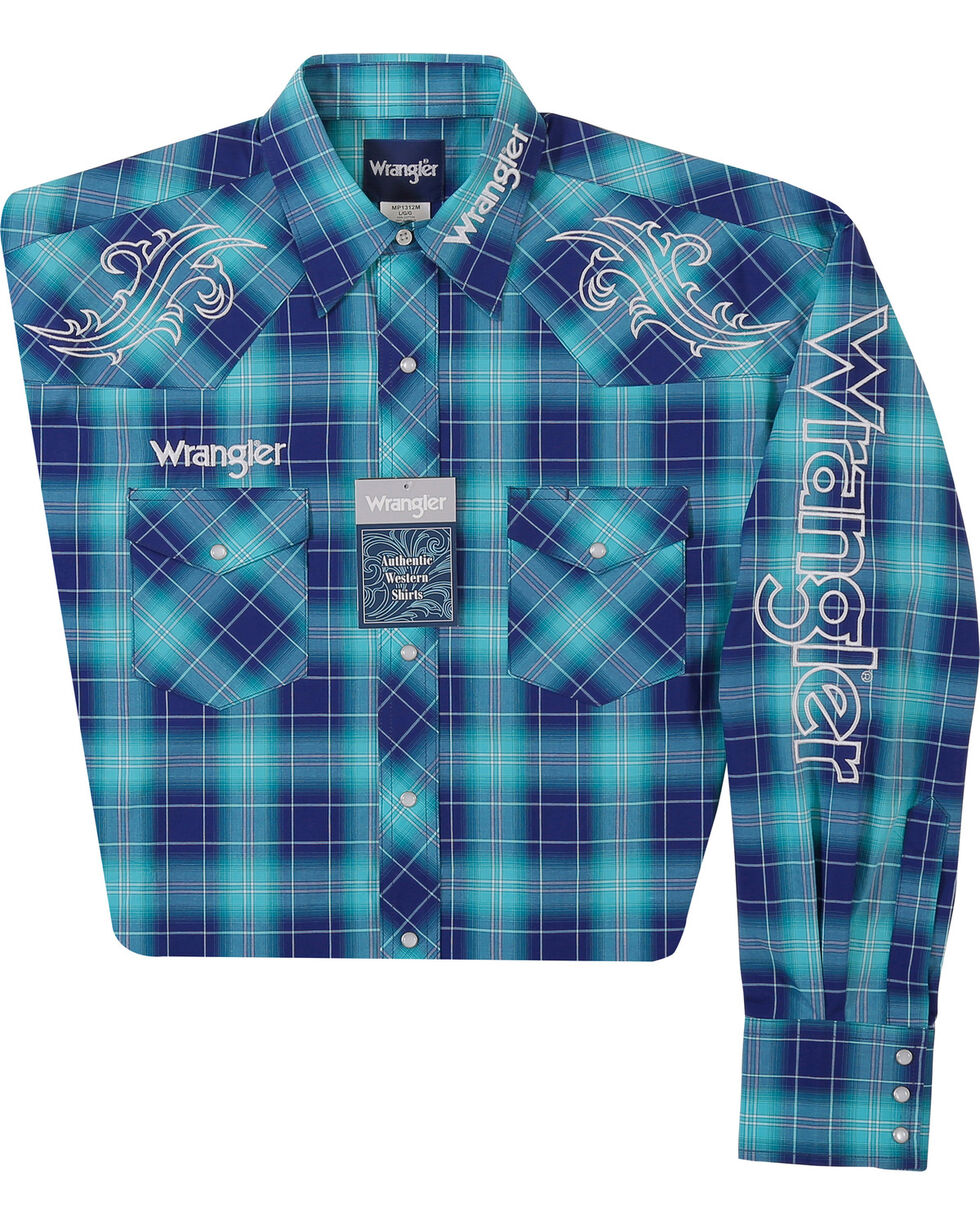 Wrangler Men's Blue Ombre Plaid Classic Logo Shirt , Blue, hi-res