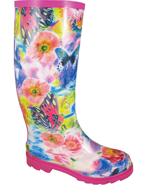 Smoky Mountain Women's Audrey Rain Boots - Round Toe , Pink, hi-res