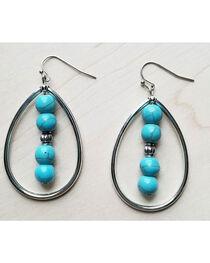 Jewelry Junkie Women's Turquoise Tear Drop Earrings , , hi-res