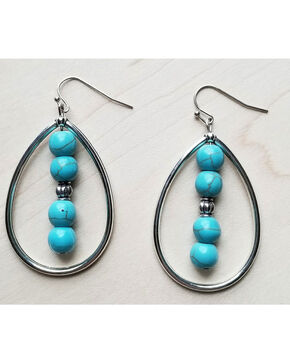 Jewelry Junkie Women's Turquoise Tear Drop Earrings , Turquoise, hi-res