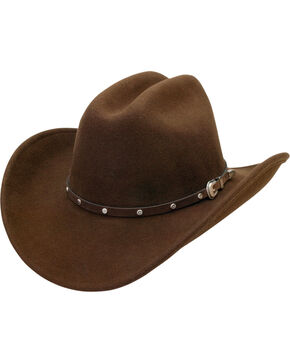 Silverado Men's Crushable Wool Cattleman Crown Hat, Brown, hi-res