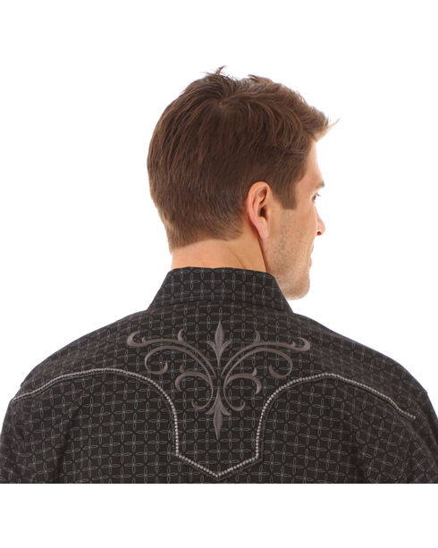 Rock 47 by Wrangler Men's Vintage Printed Long Sleeve Shirt, Black, hi-res