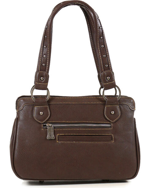 Trinity Ranch Coffee Floral Tooled Handbag , Taupe, hi-res
