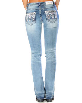 Grace in LA Women's Indigo Tribal Embellished Jeans - Boot Cut , Indigo, hi-res