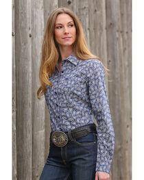 Cinch Women's Blue Paisley Print Western Shirt , , hi-res