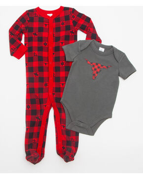Cody James Infant Boys' Longhorn Onesie Set, Red, hi-res
