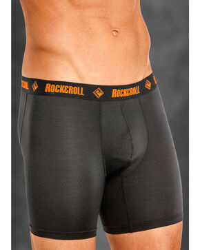 "Rock and Roll Cowboy Men's Black and Orange 6"" Boxer Briefs , Black, hi-res"