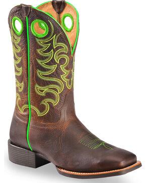 Cody James Xero Gravity Men's Haywood Neon Green Western Boots - Square Toe, Brown, hi-res