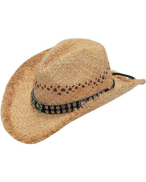 Blazin Roxx Green Crystal Cross Hat Band Raffia Straw Cowgirl Hat, Natural, hi-res