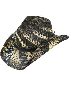 Peter Grimm Striped Straw Hat, Black, hi-res