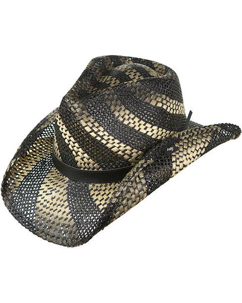 Peter Grimm Striped Straw Hat, Black, hi-res