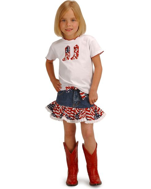 Girls' Cowgirl Stars and Stripes Top & Skirt Set - 2T-7, Patriotic, hi-res