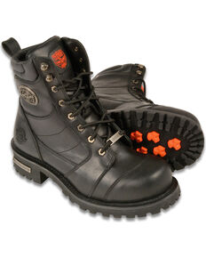 Milwaukee Leather Mens 8 Classic Logger Boots - Round Toe, Black, hi-res