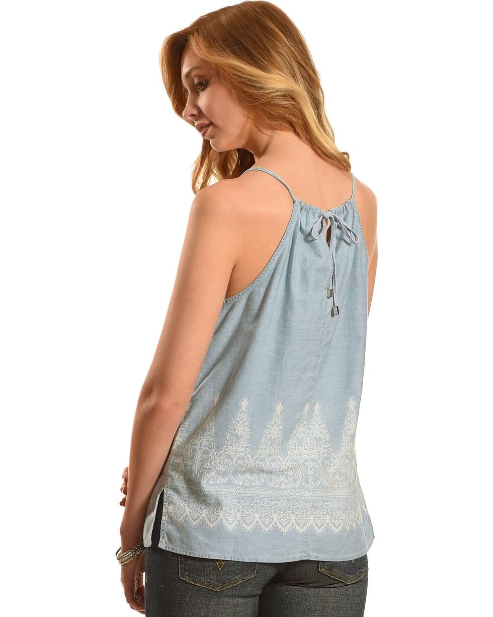 Derek Heart Women's Sleeveless Smocked High Neck Top with Border Print, Blue, hi-res