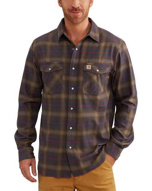 Carhartt Men's Red Rugged Flex Hamilton Snap Front Plaid Shirt, Dark Brown, hi-res