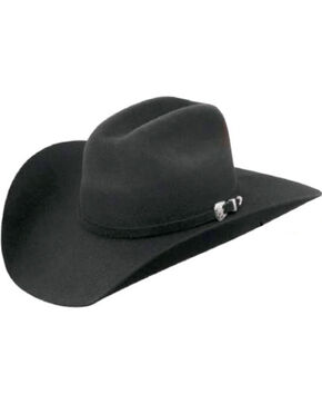 Master Hatters Men's Black Conroe 7X Wool Felt Cowboy Hat, Black, hi-res