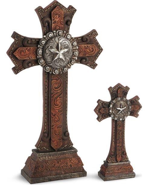 Two-Piece Star Concho Cross Statue Set, Multi, hi-res