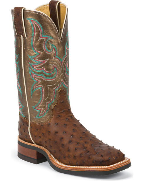 Justin Women's Full Quill Ostrich Western Boots, Antique Saddle, hi-res