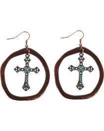 Shyanne® Women's Antiqued Hoop Cross Earrings  , , hi-res