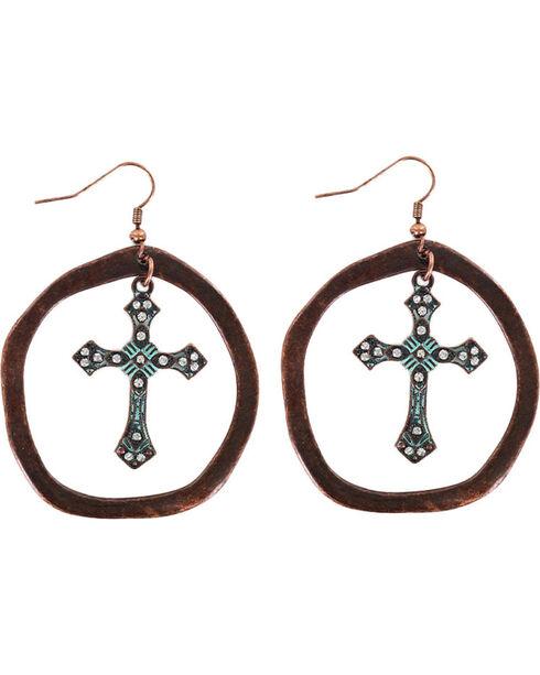 Shyanne® Women's Antiqued Hoop Cross Earrings  , Turquoise, hi-res
