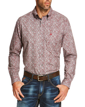Ariat Men's Grey Seville Print Long Sleeve Shirt , Grey, hi-res
