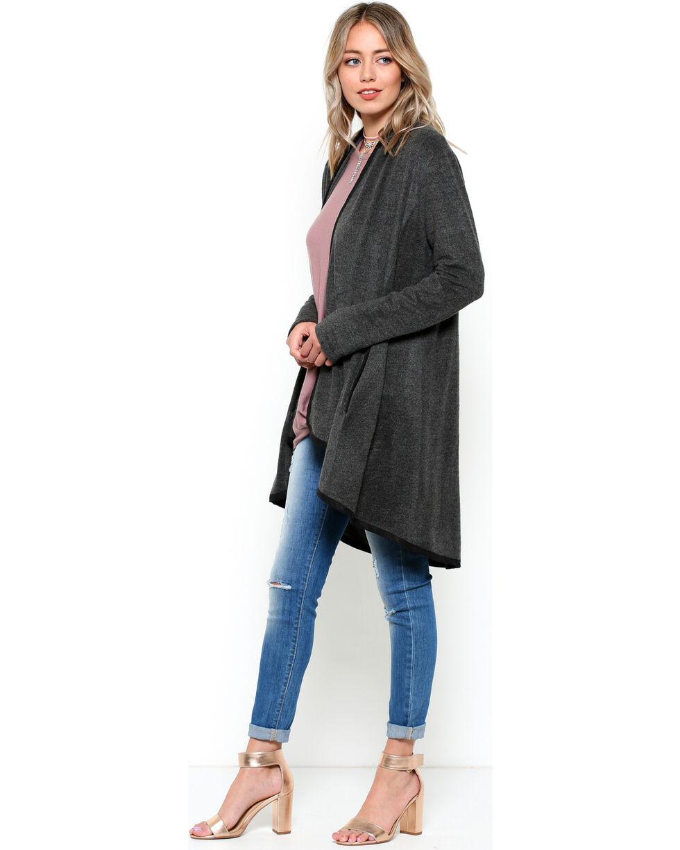 CES FEMME Women's Grey Lightweight Oversize Cardigan , Grey, hi-res