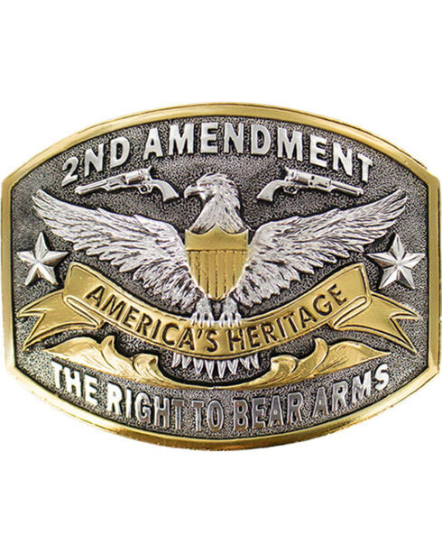 Cody James® Dual-Tone 2nd Amendment  Belt Buckle, Silver, hi-res