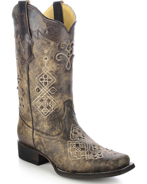Corral Women's Studded Embroidered Western Boots, Black, hi-res