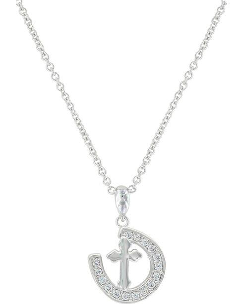 Montana Silversmiths Women's Walking The Path Of Faith Horseshoe Necklace , Silver, hi-res