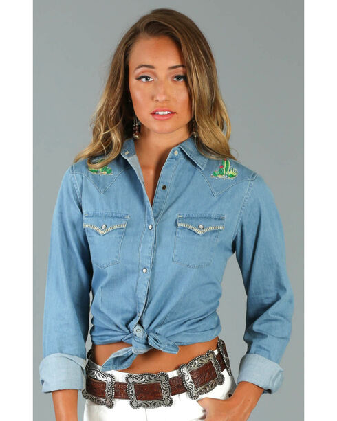 Wrangler Women's Cactus Embroidered Western Fashion Long Sleeve Shirt, Blue, hi-res