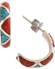 Silver Legends Women's Half Hoop Post Earrings , , hi-res