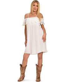 Jody of California Women's Lace Trim Cold Shoulder Dress, , hi-res