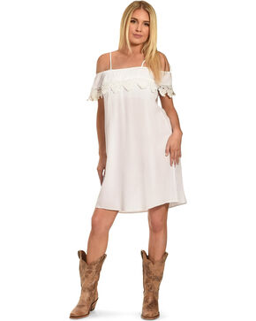 Jody of California Women's Lace Trim Cold Shoulder Dress, White, hi-res