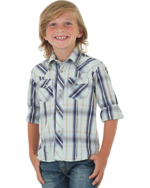 Wrangler Boys' Blue Western Fashion Snap Long Sleeve Plaid Shirt , Blue, hi-res