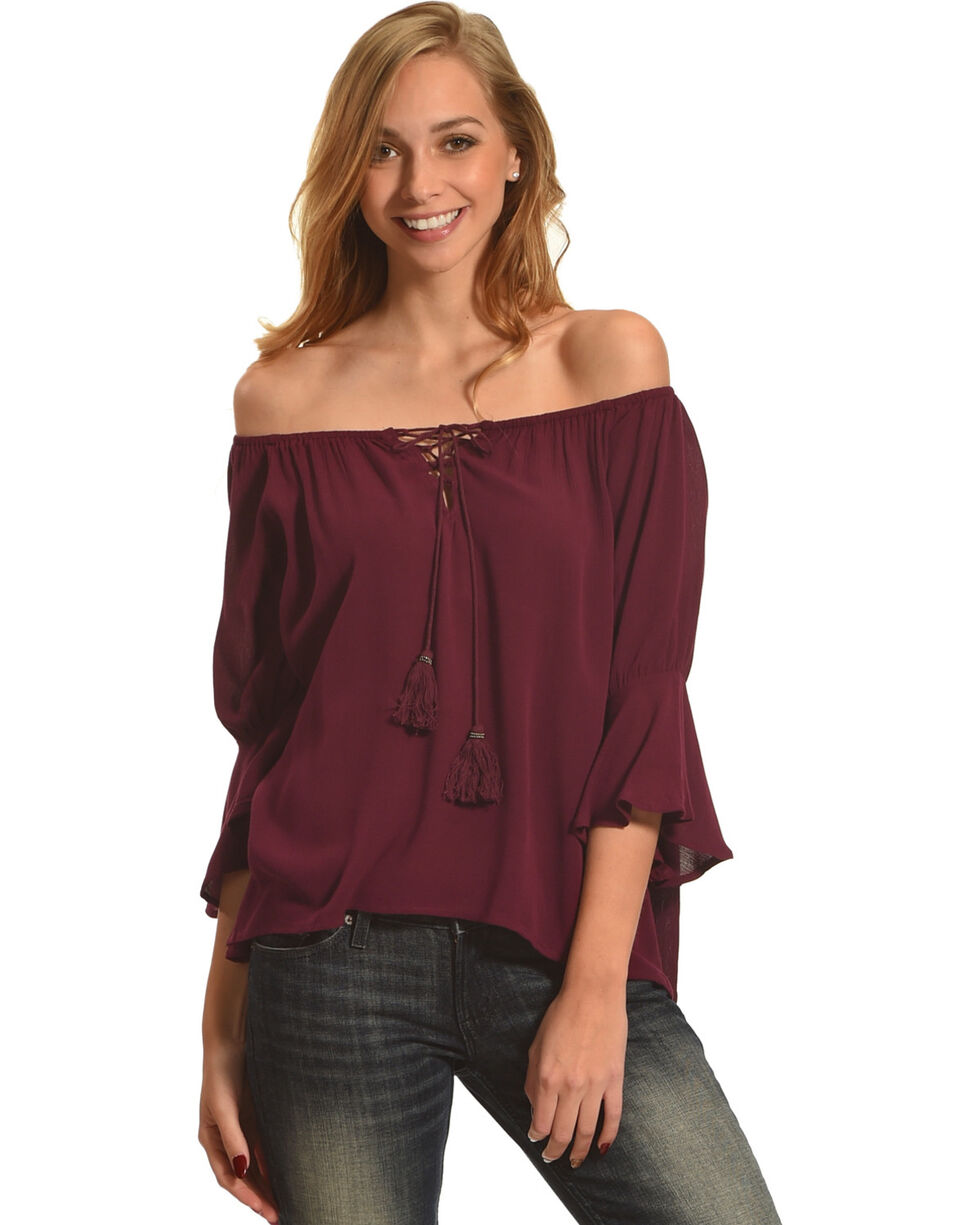 Ivory Love Women's Burgundy Tassel Off The Shoulder Top, Burgundy, hi-res