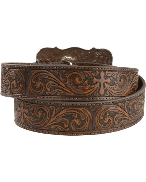 Nocona Women's Leather Tooled Western Belt, Brown, hi-res