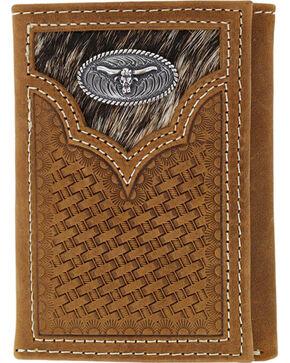 Cody James® Men's Hair-on Longhorn Trifold Wallet, Brown, hi-res