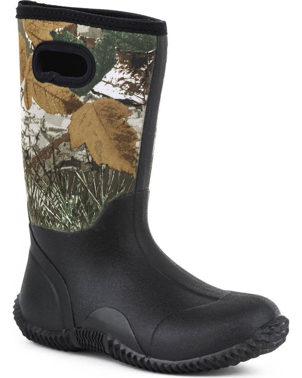 Roper Youth Boys' Camo Barnyard Boots - Round Toe, Black, hi-res