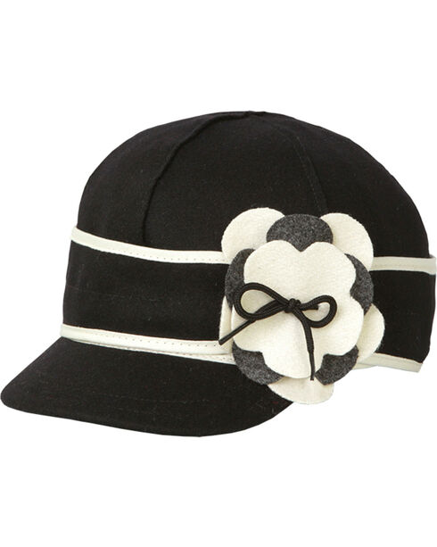 Stormy Kromer Women's Black & White Petal Pusher Cap, Blk/white, hi-res