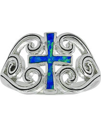 Montana Silversmiths Women's River of Lights Cross Ring , , hi-res
