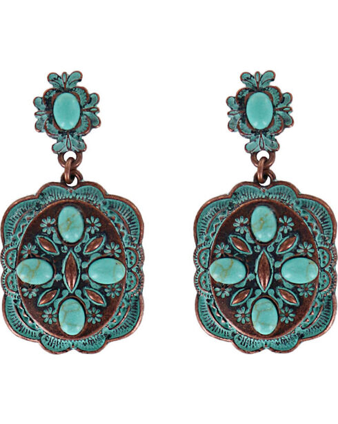 Shyanne® Women's Scallop Concho Earrings , Turquoise, hi-res