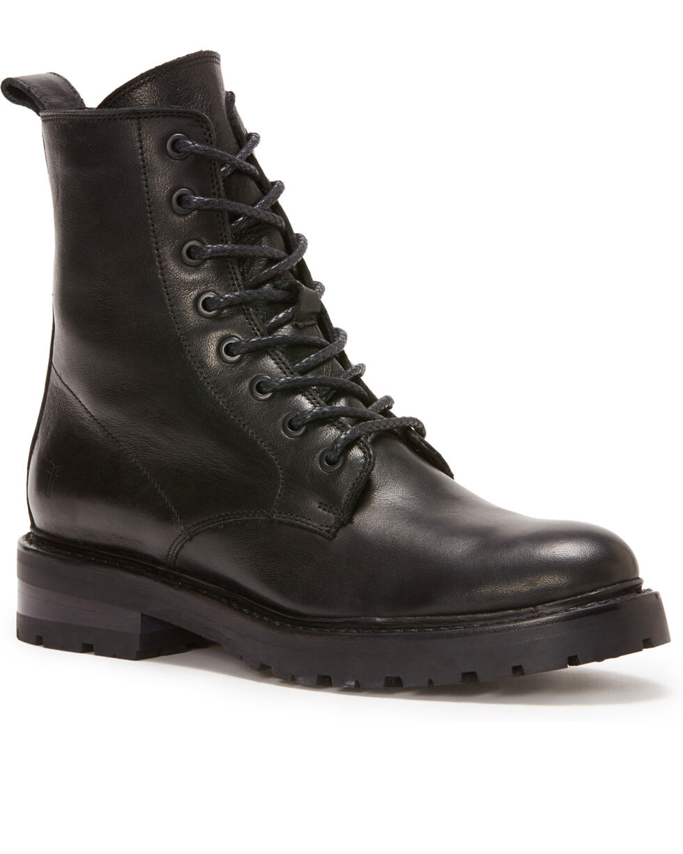 Frye Women's Black Julie Combat Boots - Round Toe, Black, hi-res