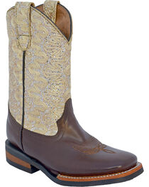 Ferrini Girls' Cowhide Lace Glitter Western Boots - Square Toe, , hi-res