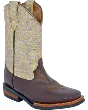 Ferrini Girls' Cowhide Lace Glitter Western Boots - Square Toe, Chocolate, hi-res