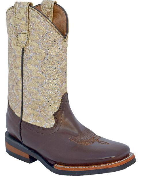 Ferrini Girls' Cowhide Lace Glitter Western Boots - Square Toe, Chocolate, hi-res