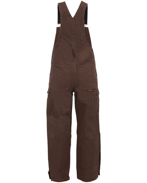 Berne Bark Unlined Washed Duck Bib Overalls - Tall, Bark, hi-res