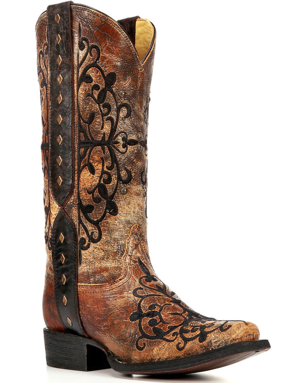 Corral Women's Embroidered and Stud Western Boots, Bronze, hi-res