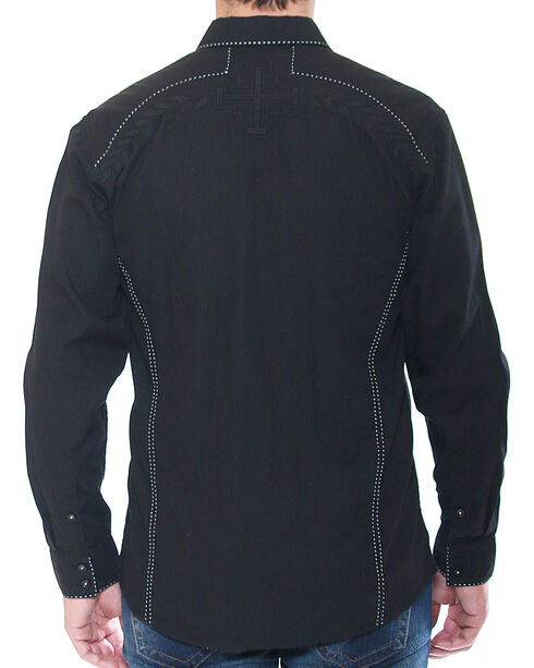 Austin Season Men's Long Sleeve Contrast Stitching Button Down Shirt, Black, hi-res